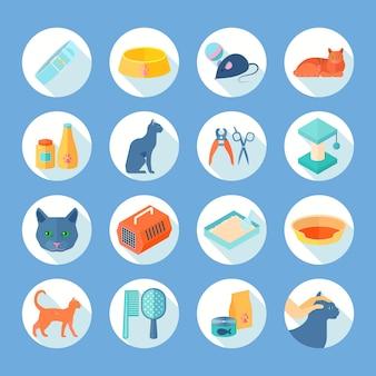 Die flachen runden ikonen der innenkatzensorgfalt, die mit lebensmittel und zubehör eingestellt werden, liefern abstrakten schatten lokalisierte vektorillustration
