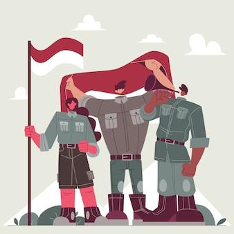 Die flagge des indonesischen unabhängigkeitstags hissen