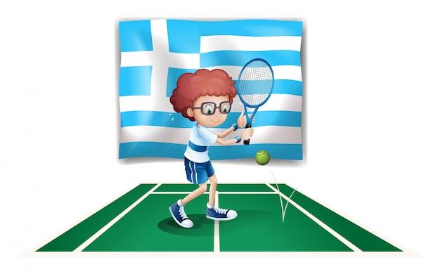 Die flagge griechenlands und der tennisspieler