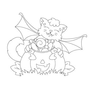 Die fledermaus fand einen korb mit süßigkeiten malbuchseite für kinder halloween-thema