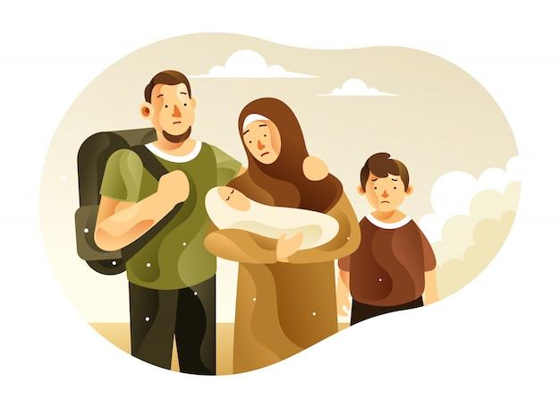 Die flüchtlingsfamilie mit kinderillustration