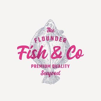 Die flunder fish and company. emblem vorlage. hand gezeichneter plattfisch
