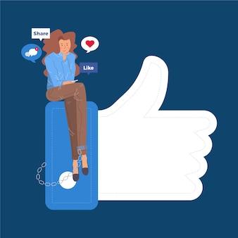 Die frau, die auf social media sitzt, mögen