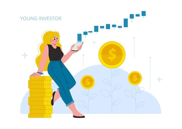Die frau investiert in börseneinkommen geld steigender zinsgewinn junge generationholding phone