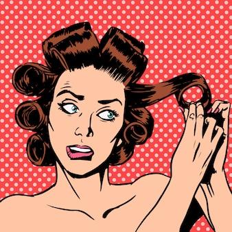 Die frau macht die curling hair beauty jugend zu einem nervösen date