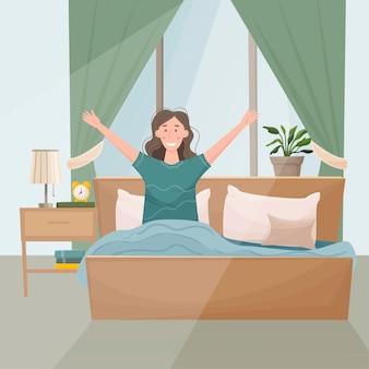 Die frau wachte im bett auf, um sich hochzuziehen. früher morgen. schlafzimmer innenattribute, bett, nachttisch, fenster.
