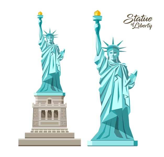 Die freiheitsstatue, freiheit, die die welt erleuchtet, in den vereinigten staaten, sammlungsentwurf lokalisiert auf weißem hintergrund, illustration