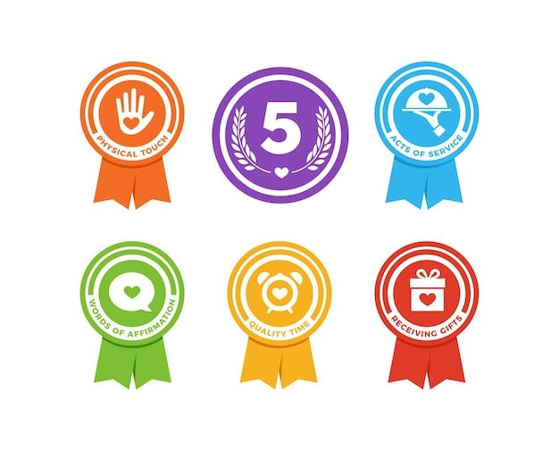 Die fünf sprachen der liebe. ribbon-version-vektor-illustration