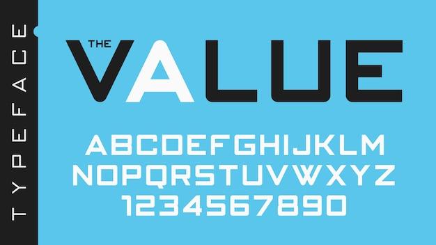 Die futuristische dekorative schriftart, das alphabet, die schriftart, die typografie, die buchstaben und die zahlen des ventils.