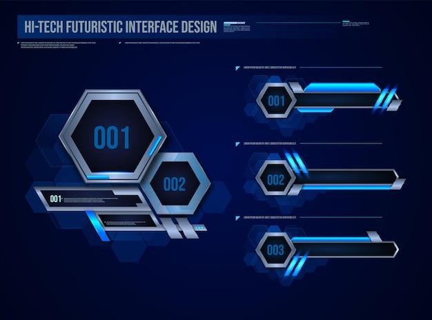 Die futuristische technologie rahmt das hud-element-design für ui-spiele ein