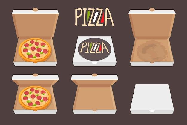 Die ganze pizza im geöffneten und geschlossenen karton. lieferung. stellen sie lokalisierte flache artillustration des vektors ein.