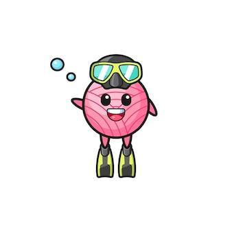 Die garnball-taucher-cartoon-figur, süßes design