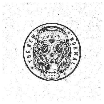 Die gasmaske pandemie hand gezeichnete illustration