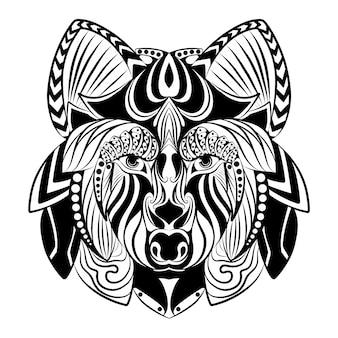 Die gekritzelkunst des zentangle-wolfes mit der schönen verzierung für die zeichnungsskizze