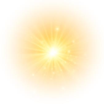 Die gelbe sonne ein blitz ein sanfter schein ohne abgehende strahlen sterne blitzte mit funkeln