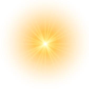 Die gelbe sonne ein blitz ein sanftes leuchten ohne abgehende strahlen sterne blitzte mit funkeln