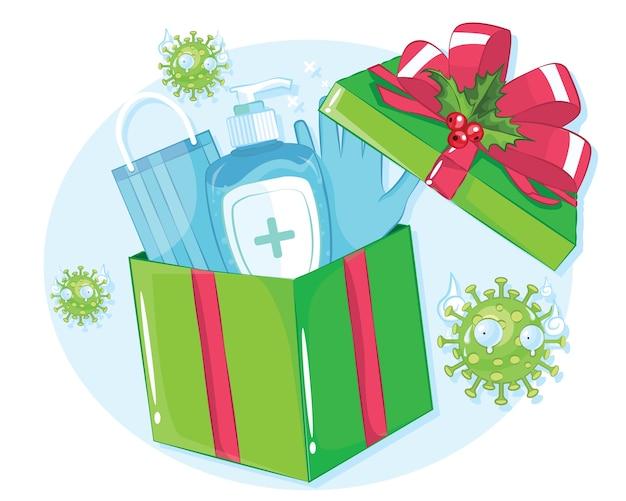 Die geschenkbox enthält ein händedesinfektionsmittel, das beste geschenk der corona-saison.