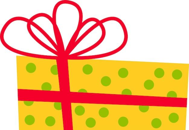 Die geschenkbox ist gelb mit roter schleife für alle feiertage
