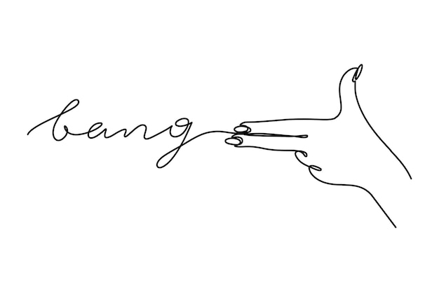 Die geste einer pistole one line schriftzug bang. vektor-illustration der hand einer frau schießt in einem minimalistischen trendstil. für t-shirt-drucke, web, banner, postkarten, poster und andere dinge