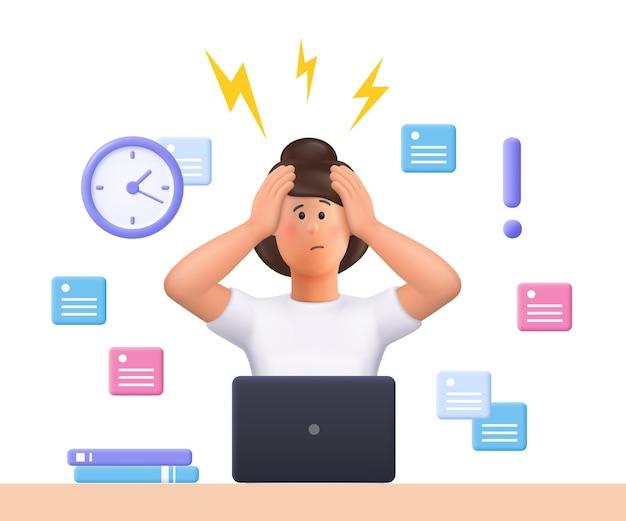 Die gestresste junge frau jane hat die frist nicht eingehalten. termindruck, stressiger job. 3d-vektor menschen charakter illustration.