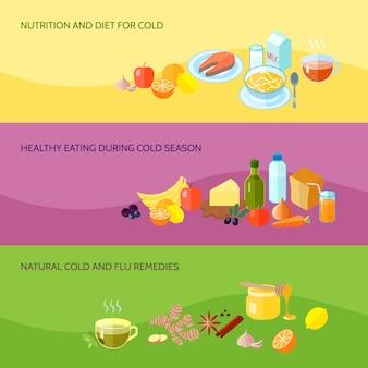 Die gesunde lebensmittelfahne, die mit nahrung und diät für das kalte essen während der natürlichen grippeabhilfen der kalten jahreszeit eingestellt wurde, lokalisierte vektorillustration