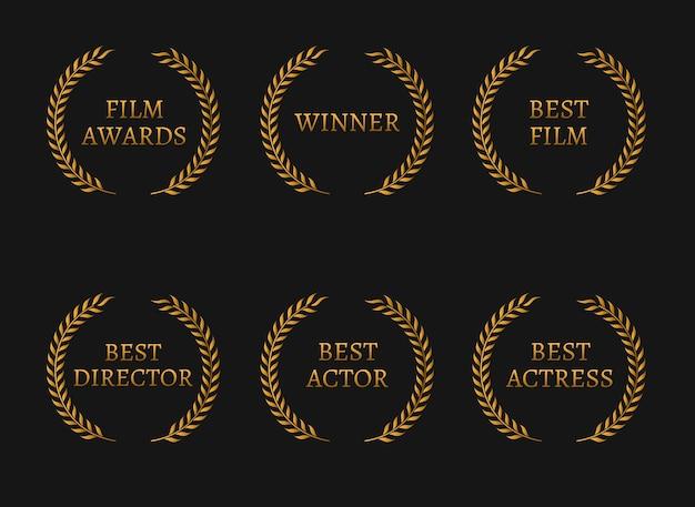 Die gewinner der filmakademie und die besten goldkränze der nominierten auf schwarzem hintergrund.