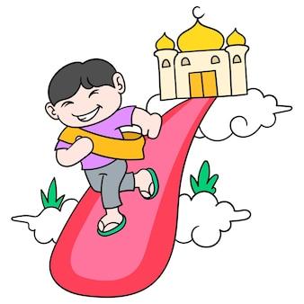 Die gewohnheit muslimischer kinder kommt fröhlich in die moschee, um anzubeten, vektorgrafiken. doodle symbolbild kawaii.