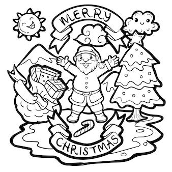 Die gezeichnete gekritzelhand santa claus feiert weihnachten.