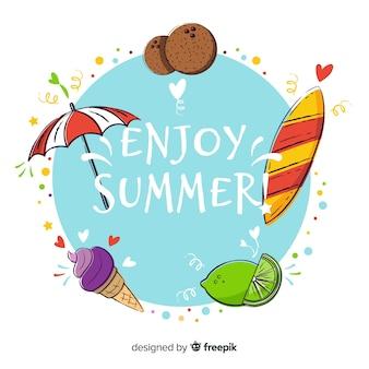 Die gezeichnete hand genießen sommerhintergrund