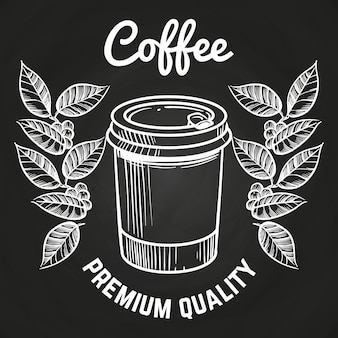 Die gezeichnete hand nehmen kaffeetasse und kaffee weg