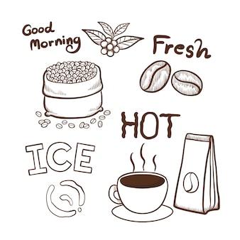 Die gezeichnete kaffee hand kritzelt elementvektorillustration