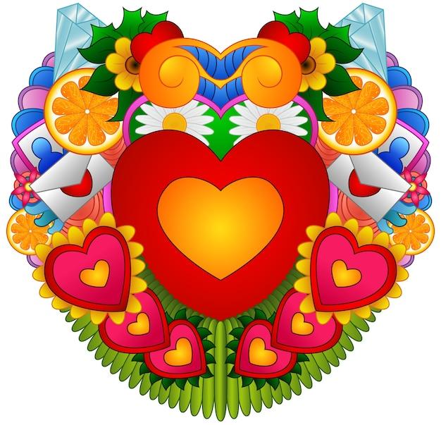 Die gezeichnete karikaturhand kritzelt glücklichen valentinsgrußtag mit symbol- und einzelteilthema-formherzen