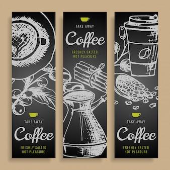 Die gezeichnete karikaturvektorhand kritzelt unternehmensidentität des kaffees.