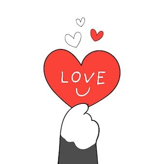 Die gezeichnete katzentatze, die rotes herz hält, schreiben wortliebe für valentinsgruß.