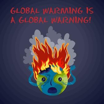 Die globale erwärmung ist eine globale warnung. ökologisches vektorplakat.