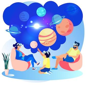 Die glückliche familie, die vr-gläser trägt, engagieren sich astronomie