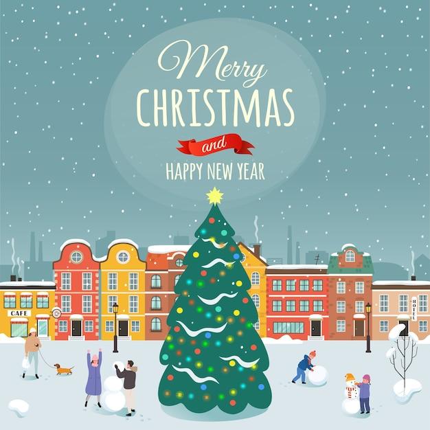 Die glückwünsche zu den frohen weihnachten und ein frohes neues jahr.