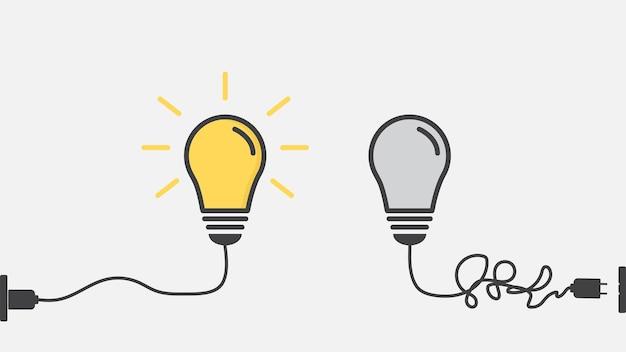 Die glühbirne. kreative idee und inspirationskonzept.
