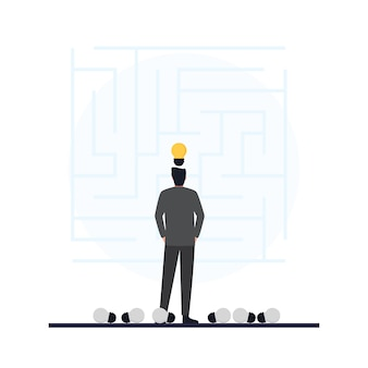 Die glühbirne oben auf den männern betrachtet die labyrinth-metapher der problemlösung.