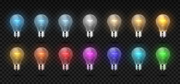 Die glühbirne. realistisch leuchtende glüh- und led-lampe von kaltem bis weißem und warmem licht, rgb-farblichter. vector elektrische girlande 3d glühbirne set für konzept beleuchtete unternehmensobjekte