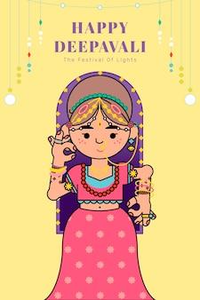 Die göttin lakshmi diwali festival hintergrundvektor