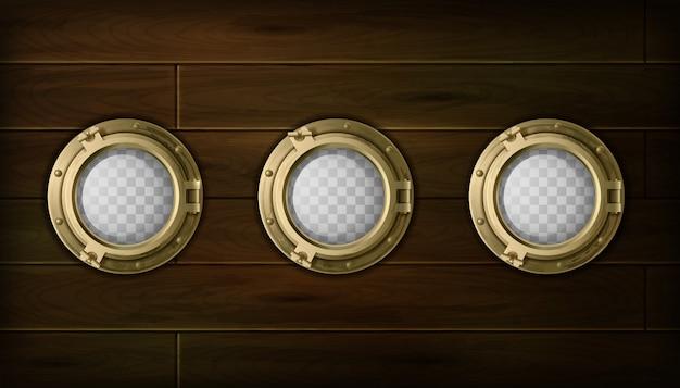 Die goldene bullaugenkarikatur des schiffs stellte mit hölzerne seitenvektorillustration ein