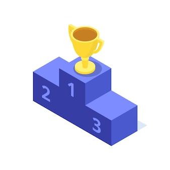 Die goldene tasse steht auf der obersten stufe des isometrischen sockelbildes