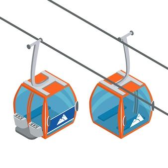 Die gondeln des skilifts bewegen das alpine skigebiet