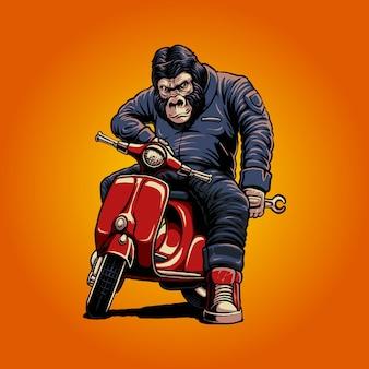 Die gorilla- und rollerillustration
