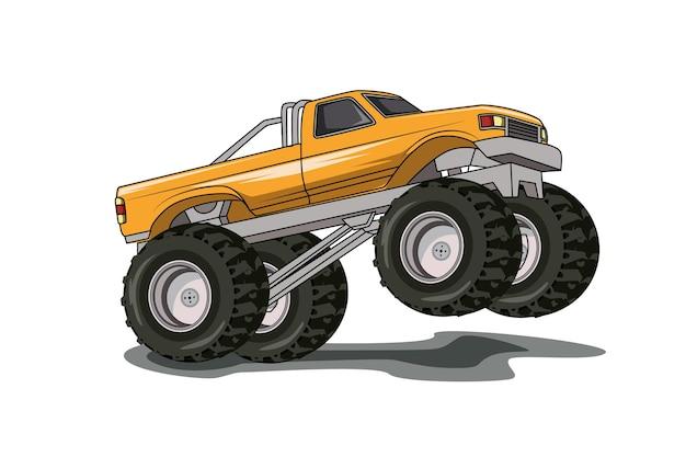 Die große gelbe monster-lkw-illustrationshandzeichnung Premium Vektoren