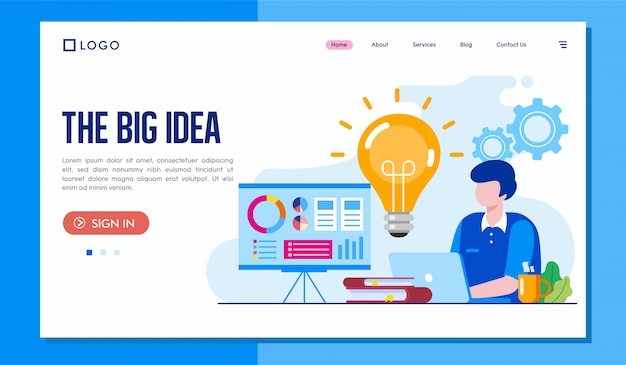 Die große idee landing page website illustration template