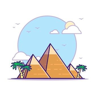 Die große pyramide von gizeh illustrationen. wahrzeichen konzept weiß isoliert. flacher cartoon-stil