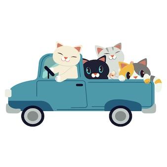 Die gruppe der netten katze des charakters, die ein blaues auto fährt. die katze, die ein blaues auto auf dem weißen hintergrund fährt.
