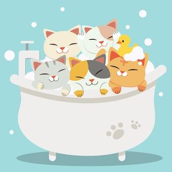 Die gruppe der süßen charakterkatzen, die ein bad mit badewanne nehmen, sehen sehr glücklich aus